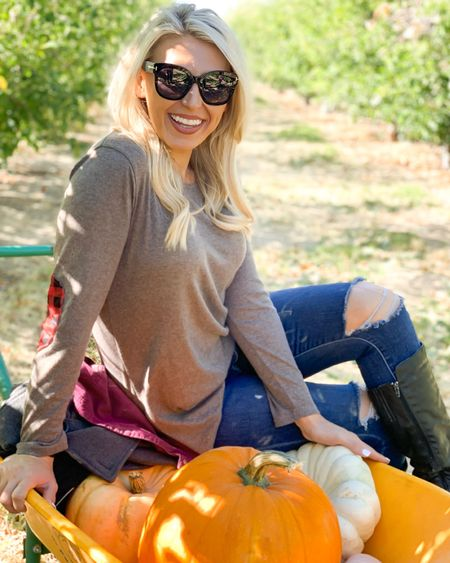 Pumpkin patch season is upon us! Blown out knee joe jeans have been a favorite of mine for years. I tagged similar pair! Also linked a few OTK boots and my designer sunglasses #competiton   #LTKshoecrush #LTKunder50 #LTKSeasonal