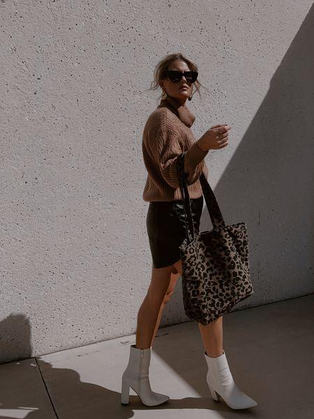 Everything runs tts! #sweater #fauxleather #leathershorts #cheetahtote #leopardprint #tote #boots #lulus #freepeople #amazonfashion #accessories   #LTKunder50 #LTKunder100 #LTKshoecrush