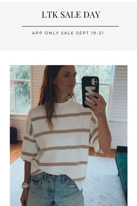 LTK sale day, fall sweaters on sale, classic style, casual outfits, striped sweater look   #LTKunder100 #LTKSale