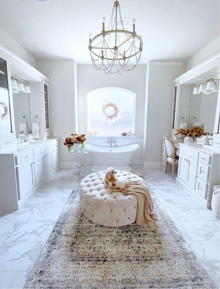 Bathroom decor, chandelier, bath, home decor, fall decor   #LTKunder50 #LTKtravel #LTKhome