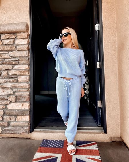Knit loungewear sets are my favorite for grocery store & mail box runs & cozying up at home  in the Fall-Winter. All of these blue loungewear sets are either under $100 or on sale. My exact ones sold out but these are super close.  #LTKunder50 #LTKSeasonal #LTKunder100