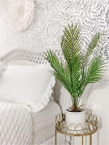 """Palm Plant arrangement in coastal guest bedroom.   28"""" x 24"""" Artificial Palm Plant Arrangement in Pot -    #LTKSeasonal #LTKunder50 #LTKhome"""