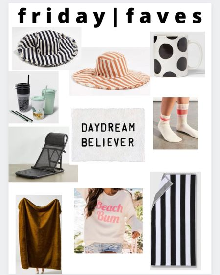 Friday faves!! 1 and 2 )Loving these striped bucket hats! 3) black and white polka dot mug and only $3! 4) the cutest kids tumblers! 5) my most favorite frames art piece in my house (other than pics of my kiddos) the texture is amazing 6) the most coziest socks. I love cozy socks 7) black rattan beach chair! I have the natural color and love it 8) the most cozy blanket ever that we use year round  and is on sale! 9) beach bum hoodie 10) super cute and cheap black and white beach towel #liketkit http://liketk.it/3fOXb @liketoknow.it #LTKstyletip #LTKsalealert #LTKhome