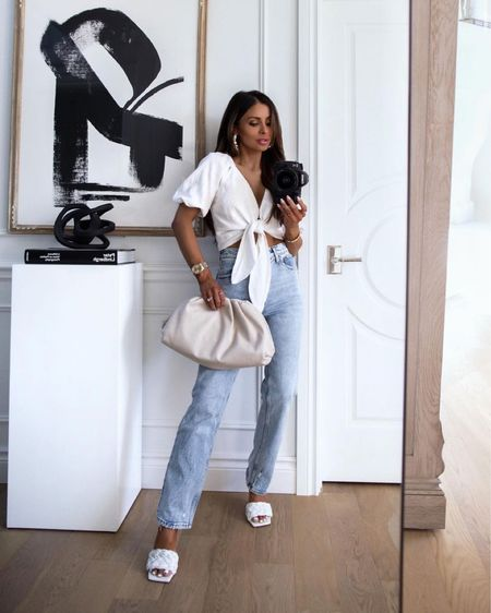 Abercrombie summer outfit Abercrombie white linen top Abercrombie high waisted jeans Marc Fisher slides  #LTKshoecrush #LTKstyletip #LTKunder100