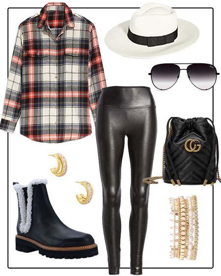 Outfit idea- plaid tunic, Spanx faux leather leggings, Marc Fisher Chelsea boots    #LTKshoecrush #LTKstyletip #LTKitbag
