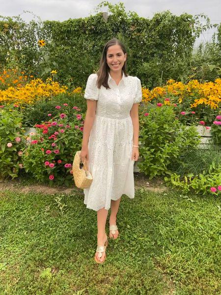 White dress, lace dress, white lace dress, midi dress, straw bag, Jack Rogers, straw tote, vineyard outfit  #LTKunder100 #LTKSeasonal #LTKfit