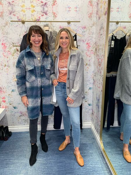 Shackets!🍁🍁 Love this long plaid shacket and this cozy grey shacket! Perfect layered over a graphic tee! @evereveofficial  #lastseenwearing   Evereve, shacket, plaid shacket, grey shacket, fall denim, graphic tee, gratitude tee, good vibes tee, chain mules, fall jackets, long shacket, black denim, step hem jeans    #LTKstyletip #LTKunder100 #LTKunder50