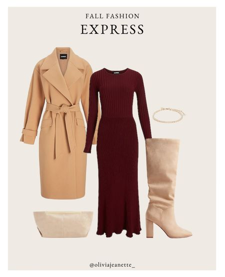 Head to toe Express look with my new favorite midi dress. 🍂 #ExpressPartner #ExpressYou  Coat, boots, tennis bracelet, clutch, fall outfit   #LTKSeasonal #LTKunder100 #LTKHoliday
