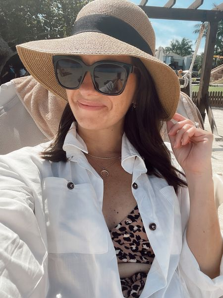 Beach outfit - vacation outfit - amazon sun hat - amazon coverup, aerie wrap one piece swimsuit   #LTKunder50 #LTKswim #LTKtravel