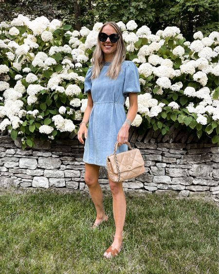 Happy weekend! This little chambray dress is so good for summer. It's lightweight and I love the puff sleeve detail. Love it with sandals but it would be so cute with sneakers too! Fits TTS wearing a small http://liketk.it/3iwzV #liketkit @liketoknow.it #LTKunder100 #LTKstyletip #LTKunder50