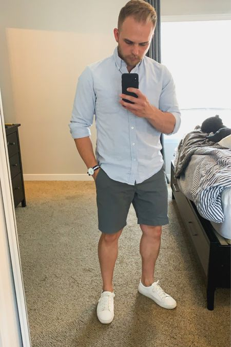 Gray and blue are a great summer time combo. Love both long sleeve and short sleeve shirts for this look. http://liketk.it/2Qd3S #LTKunder50 #LTKmens #liketkit @liketoknow.it #LTKstyletip