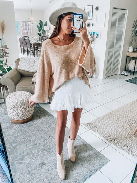 Sweater, skirt and booties. Summer to Fall outfit ideas.   #LTKunder50 #LTKstyletip #LTKunder100