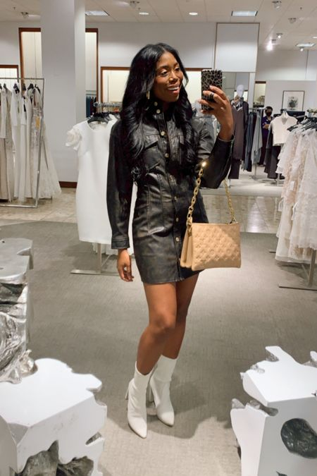 Fall fashion look, boots, faux leather dress, Louis Vuitton, gold hoop earrings