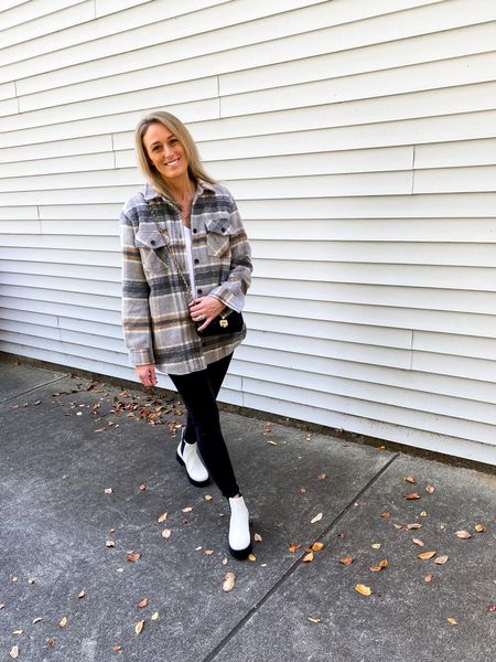 It's officially shacket season! Love this one with the white Chelsea boots + faux leather leggings  #LTKunder100 #LTKshoecrush #LTKstyletip