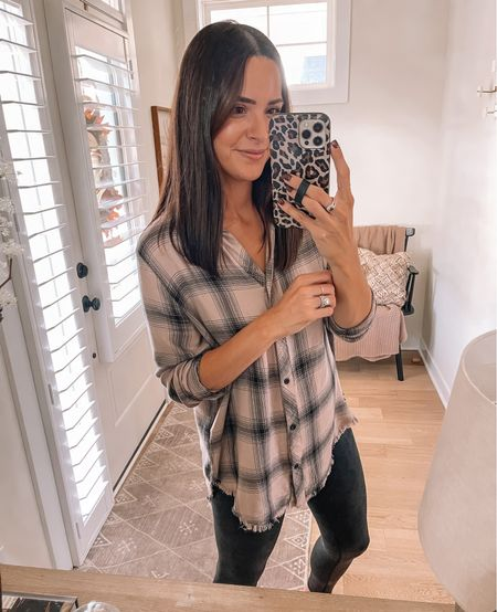 Plaid tunic: sized up to a L  Faux leather leggings: true to size (S)   #LTKunder100 #LTKSeasonal #LTKstyletip