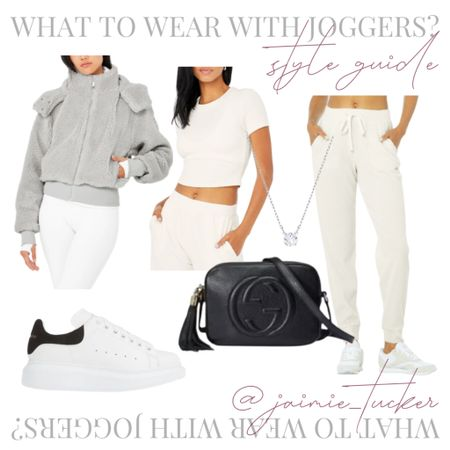 How to style a pair of joggers/sweatpants in the fall. How cute is the sherpa jacket? | #falloutfit #casualfalloutfit #casualoutfit #errandsoutfit #sherpajacket #fallouterwear #falljackets #fallcoats #womensjoggers #womenssweatpants #JaimieTucker  #LTKfit #LTKshoecrush #LTKstyletip
