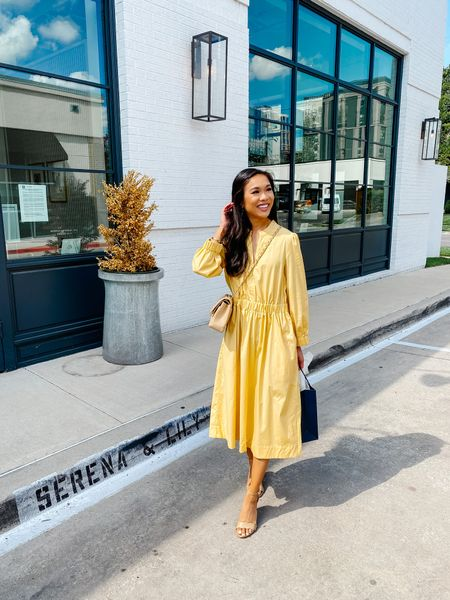 Fall dress on sale for 30% off! Love this gold dress for fall workwear, business casual, brunch, fall weddings or teachers outfits. Wearing size XS, fits true to size (XXS wasn't an option when I ordered). Midi length and I'm 5'3 for reference in case you're petite. Had pockets, too!   #LTKworkwear #LTKsalealert #LTKunder100