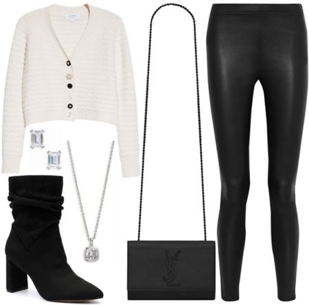 Fall forward style  . . . Cardigan, embellished sweater, fall outfit, black and white, suede boots, black boots, fall boots, booties, leather pants, leather leggings, crossbody bag, black crossbody bag, cardigan sweater   #LTKstyletip #LTKSeasonal
