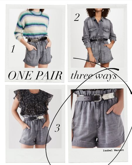 I just invested in this pair of Isabel Marant jean shorts and I am really excited about all the ways I can wear them. They are such an elevated look compared to your basic pair of Jean shorts. The fabric is heavy and silky- and very soft.  I bought a 38, because I wanted them to be on the big side. Shorts like this can be unflattering when too tight because it stretches the waist band- which is intended to be ruched. After getting the shorts, I invested in the matching denim shirt so I can wear it as a romper. Thinking this will be perfect for weekend happy hour and also my kids birthday party at the ranch.   #LTKSeasonal #LTKeurope #LTKworkwear