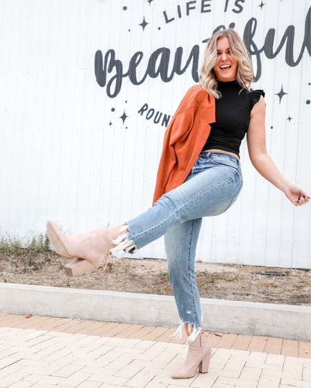 Pretending it's Friday 🙈 linked exact blush lace up booties 👢& jeans 👖, plus similar mock neck top + burnt orange blazer! Perfect for thanksgiving!    http://liketk.it/2Hb98 #liketkit @liketoknow.it #fallstyle #thanksgivingoutfit #falloutfitideas