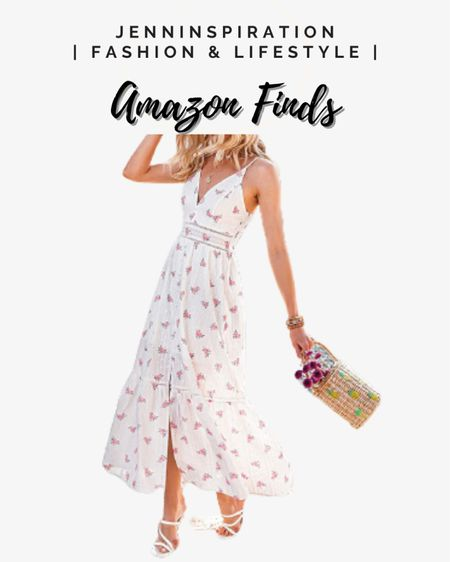 Floral embroidered pearl button down dress with straw bag, wide brim hat, and strappy heels for the summer! Amazon finds all under $30. Perfect for summer beach party, brunch date, wedding event, casual day, girl nights out, summer nights http://liketk.it/3gwMx #liketkit @liketoknow.it Follow me on the LIKEtoKNOW.it shopping app to get the product details for this look and others #LTKDay #LTKstyletip #LTKsalealert
