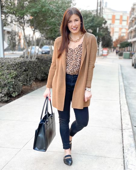 Let's style this incredible J.Crew cardigan & leopard cami 3 ways shall we? For the weekend, for date/girls night, for work attire - these pieces were created for it all! Tell me which look is your favorite & save this post for outfit inspiration to refer back to later!👇🏼 - http://liketk.it/39GYN #liketkit @liketoknow.it   #LTKworkwear #LTKunder100 #LTKitbag