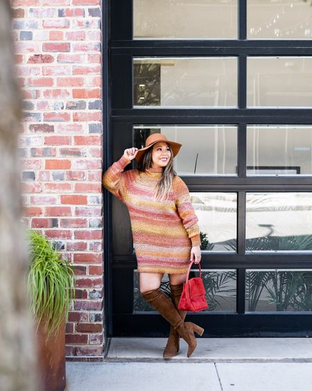 the perfect sweater dress for fall!  paired with OTK boots, hat , and suede purse.  great for office or casual outing.  #LTKSeasonal #LTKstyletip #LTKshoecrush
