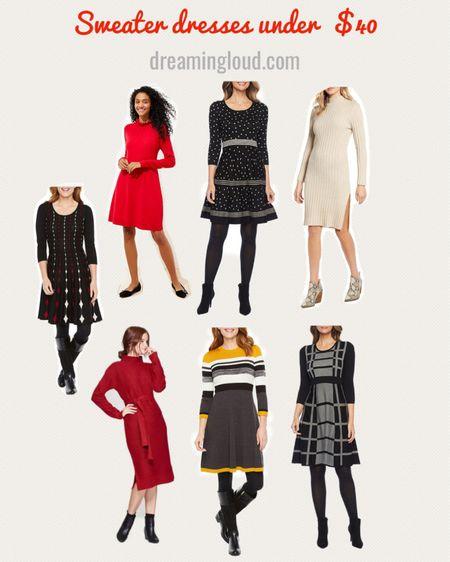 http://liketk.it/2ImCk #liketkit @liketoknow.it #LTKunder50 #LTKholidaystyle #LTKworkwear sweater dresses for work, holiday dresses under $40, red sweater dress, polka dot sweater dress