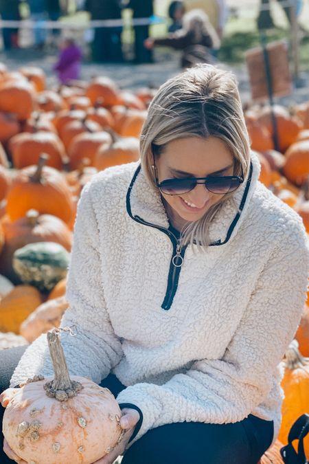 Nordstrom anniversary Sale Quay aviator sunglasses and Cozy fleece   Fall outfit, 1/4 zip fleece    #LTKsalealert #LTKunder100