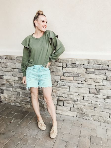 Ruffled sweatshirt, momjean denim shorts, woven mules #casualstyle #momstyle #summertofall   #LTKunder50