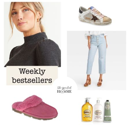 Our top 5 weekly bestsellers! Suede slippers restocked and less than $14! The cutest mom jeans and so affordable! The softest brushed mock neck puff sleeve shirt //L'Occitane gift set and Sandi's Golden Goose wish list sneakers   #LTKunder50 #LTKGiftGuide #LTKHoliday