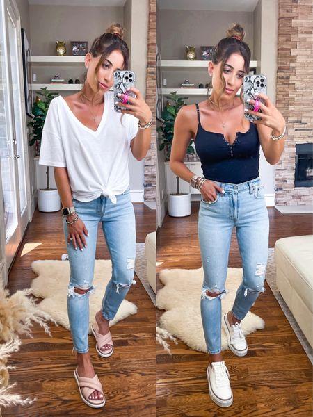 Jeans on sale in 24s bodysuit in Xs white tee in Xs sneakers size down sandals size down   #LTKunder50 #LTKsalealert #LTKunder100