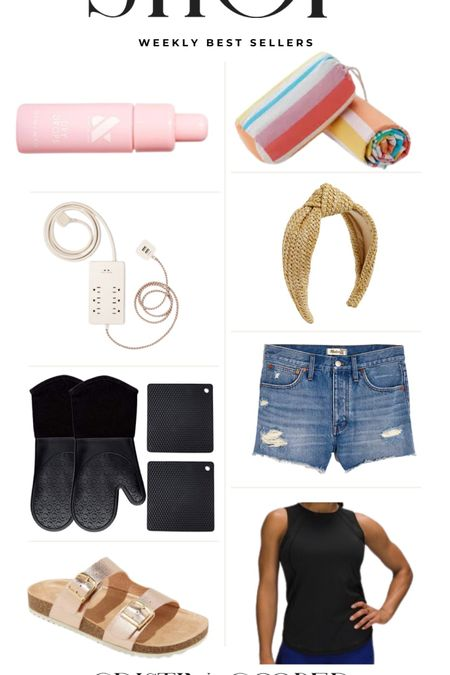 Weekly Best Sellers // nail drying drops // beach towel // extension cord // headband // Jean shorts // oven mitts // workout tank top // girls' Birkenstock http://liketk.it/3hlQP #liketkit @liketoknow.it