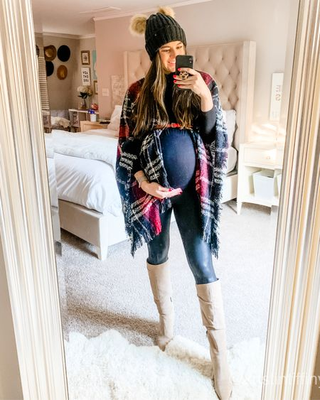 Loving this 50% off poncho that's perfect for fall, winter, and can be a great option for your thanksgiving meal if you enjoy eating lots like I do 😛 On sale it's under $20!! I paired it with a black turtleneck and my favorite Spanx maternity leggings and cute taupe tan knee high boots! Belt it in front if you have a little baby bump to show it off!! http://liketk.it/31vT6 @liketoknow.it #liketkit #LTKbump #LTKsalealert #LTKunder50