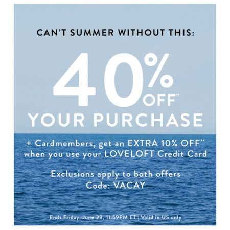 Get 40% off at LOFT with the code VACAY. You can also redeem your LOFT cash cards with the storewide sale for $20 off every full-price promotional purchase of $50+. Cardmembers get an extra 10% off ( discount reflected at checkout). Note that the blue and white top runs wide/big and the sleeves are poufy. A few new fitting rooms coming soon on www.whatjesswore.com. Shop a few of my sales picks @liketoknow.it http://liketk.it/2CU8y #liketkit #LTKsalealert #LTKunder50 #LTKunder100 #lovelodt