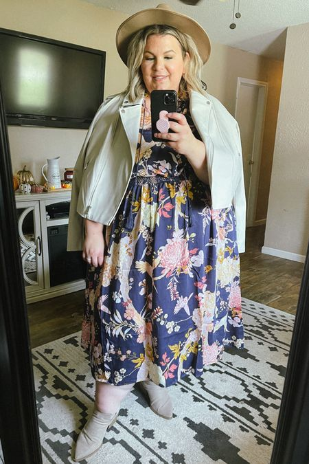 This plus size Walmart dress is gorgeous! This would be beautiful as a plus size wedding guest dress or for a family photo outfit idea. It runs pretty big, don't size up! It looks perfect with this plus size moto jacket from Eloquii!   #LTKSeasonal #LTKunder50 #LTKcurves