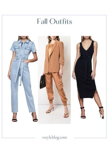 Fall outfits, Teacher outfits, Work wear, Back to school, Airport outfits, Denim jumpsuit, Camel tan blazer, Black midi dress  Good American Fit for Success Belted Denim Jumpsuit @ Nordstrom ($159)  Cinq à Sept Khloe Crepe 3/4 Sleeve Blazer @ Farfetch ($395) @ Shopbop ($395)  Good American Rib Tie Waist Midi Dress @ Nordstrom ($149)  #LTKfit #LTKworkwear #LTKSeasonal