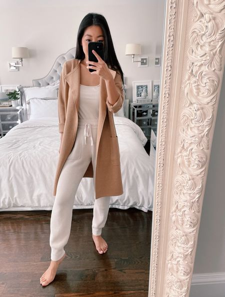 40% off this fab cardigan jacket. If you loved the Sophie sweater from jcrew this is my new work from home and casual style favorite for the longer length. Unfortunately it doesn't come in the full range of sizes as Sophie so this is the xxs which is a loose fit on me (5 ft tall 95lb) but workable for a casual fit. Take your usual size in the Sophie! My joggers are barefoot dreams size xs petite but I also linked a more budget friendly petite option   #LTKsalealert #LTKunder100 #LTKstyletip