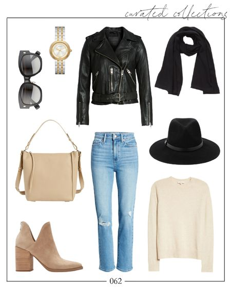 """This leather jacket outfit is making me crave fall 🍂 There are a handful of great moto jackets and biker jackets included in the #nsale but this one is my favorite. In case it sells out, I linked more leather jackets in the """"Related"""" section. The hat is newer to the sale and is under $100!  fall outfits, fall outfits women, leather jacket outfit, nsale jacket, nsale jackets, nsale outfits #nsaleoutfits #falloutfits #falloutfitswomen #leatherjacketoutfit"""