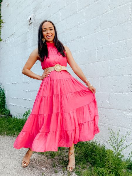 """RED DRESS TRY ON feat. this hot pink maxi dress! I am 5'4"""" so I styled with their tan belt to give the dress some more shape on me! The tiers are so pretty and this dress is lined. Perfect for vacation or beach wedding 🤩 Wearing a size small! Download the @liketoknow.it shopping app to shop this pic via screenshot: http://liketk.it/3hyOk #liketkit #LTKunder50 #LTKunder100 #LTKwedding"""