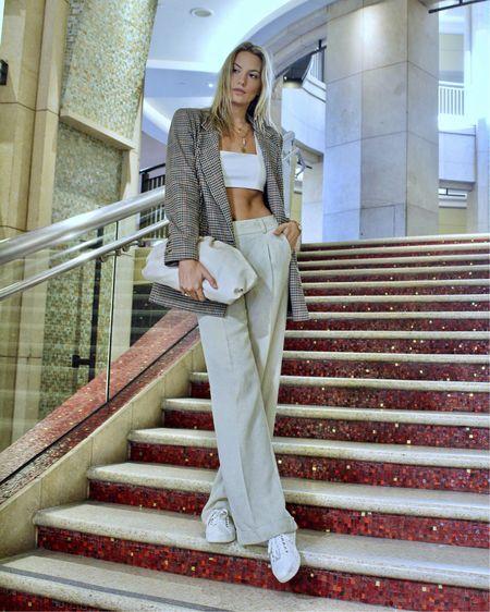 Blazers + wide leg pants + crop tops http://liketk.it/2Y5O8 #liketkit @liketoknow.it #LTKeurope #LTKstyletip #LTKsalealert