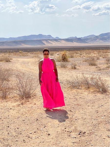 Pink halter maxidress linked similar options below!     #LTKSeasonal