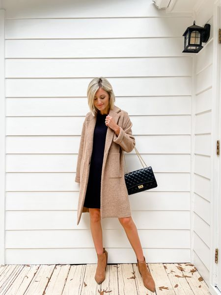 Pair an oversized coat with this Free Assembly black dress! Add a bootie for a fall look.     #LTKstyletip