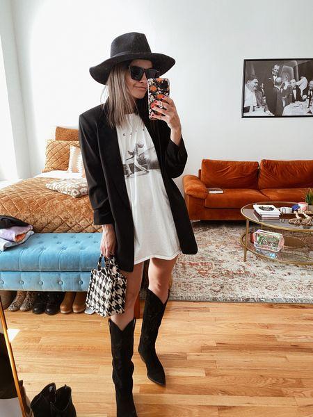 T-shirt dress Blazer Fall outfit Hat Wide brim hat H&M Mini bag Small bag Crossbody bag Amazon Black sunglasses Western Cowboy boots  #LTKSeasonal #LTKGiftGuide #LTKunder100
