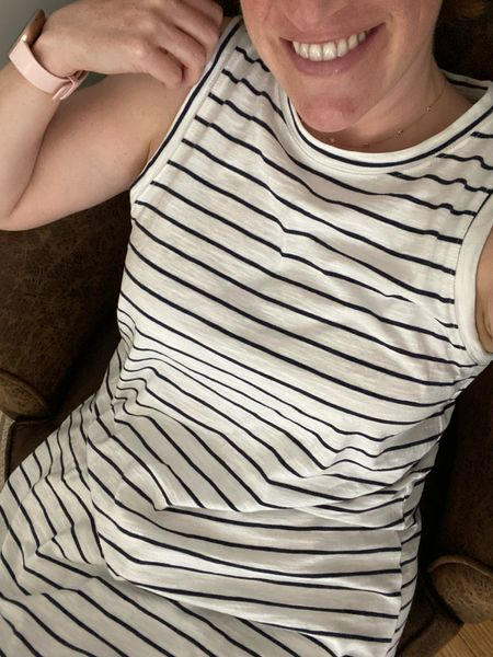 I just wear striped dresses now 🙃 In a medium for a comfortable fit.