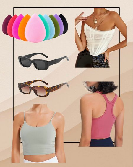 Recent Amazon Purchases http://liketk.it/36R4K #liketkit @liketoknow.it    - beauty blenders: really nice quality  - workout tanks - trendy sunglasses - bustier top