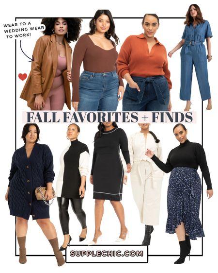 Fall Favs + Finds for Curves @eloquii @walmart Eloquii elements | denim jumpsuit, midi skirt, sweater dress, #plussize leather blazer, colored sweater #BlackGirlStyle #BlackWoman   #LTKSeasonal #LTKsalealert #LTKcurves