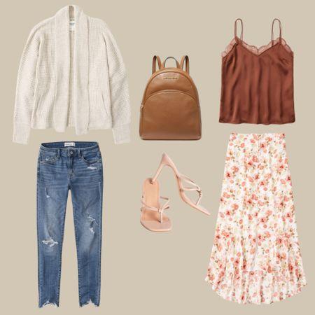 Mix & match your favorites. Abercrombie & Fitch SALE! Cream knitted sweater, denim skinny jeans, Michael Kors camel backpack purse, Burnt orange laci camo, floral midi skirt, and nude heels.   #LTKunder100 #LTKsalealert #LTKstyletip