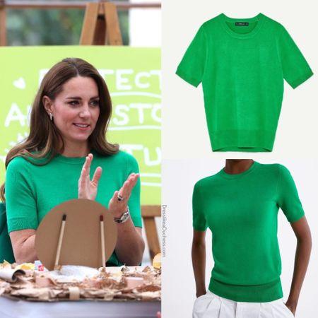 Kate wearing Zara short sleeve sweater #outfit   #LTKeurope #LTKstyletip