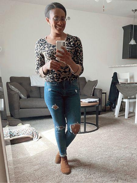 Cheetah is out!  #cheetahprint #print #sweater #crewneck #jeans #distressed #target #booties #cognac #skinny #fall #autumn   #LTKSeasonal #LTKunder50 #LTKHoliday